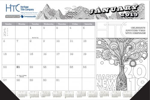 Adult Coloring Desk Calendar
